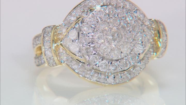 White Diamond 10k Yellow and White Gold Ring 1.27ctw