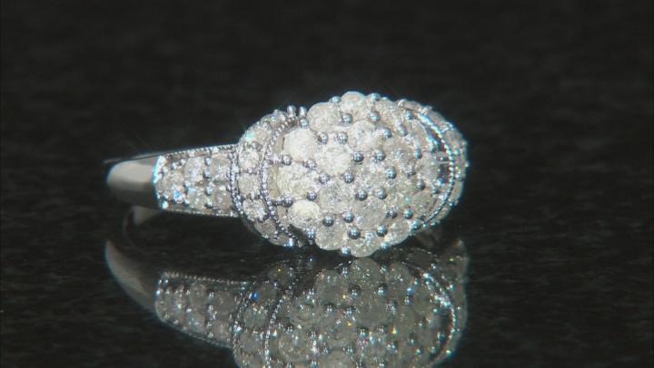 White Diamond 10k White Gold Ring .85ctw