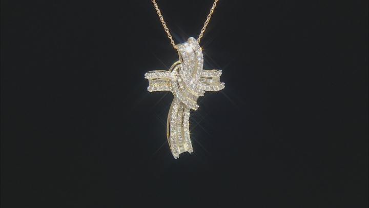 "White Diamond 10k Yellow Gold Cross Pendant With 18"" Rope Chain 1.00ctw"
