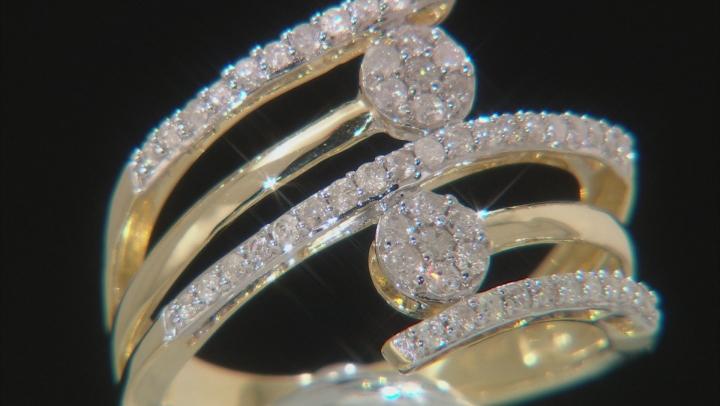 White Diamond 10k Yellow Gold Bypass Ring 0.50ctw