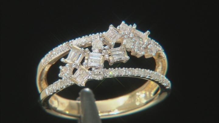 White Diamond 10k Yellow Gold Ring 0.38ctw