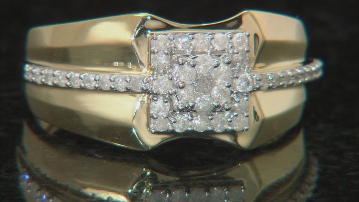 White Diamond 10K Yellow Gold Gents Ring .40ctw