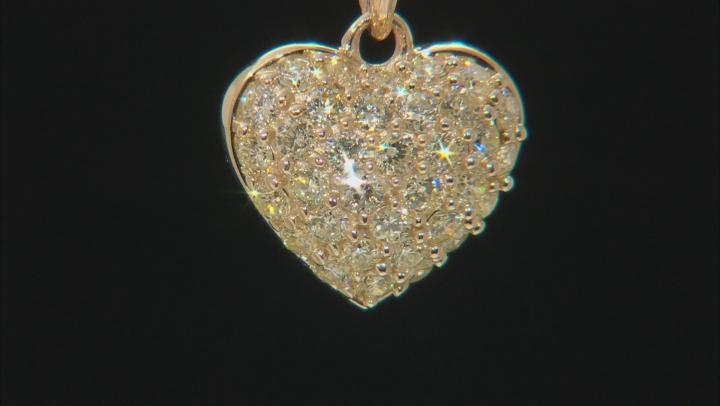Yellow Diamond 10k Yellow Gold Heart Pendant With Chain 0.60ctw