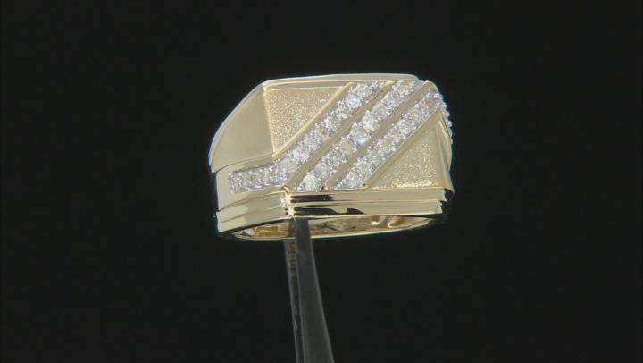 White Diamond 10k yellow Gold Gents Ring 0.50ctw
