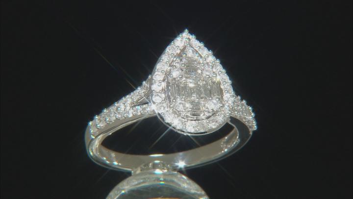 White Diamond 10k White Gold Cluster Ring 0.75ctw