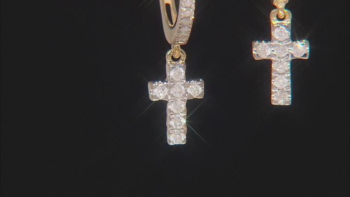 White Diamond 10K Yellow Gold Earrings 0.33ctw