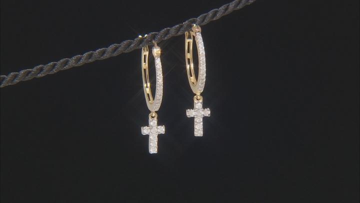 White Diamond 10K Yellow Gold Cross Dangle Earrings 0.33ctw
