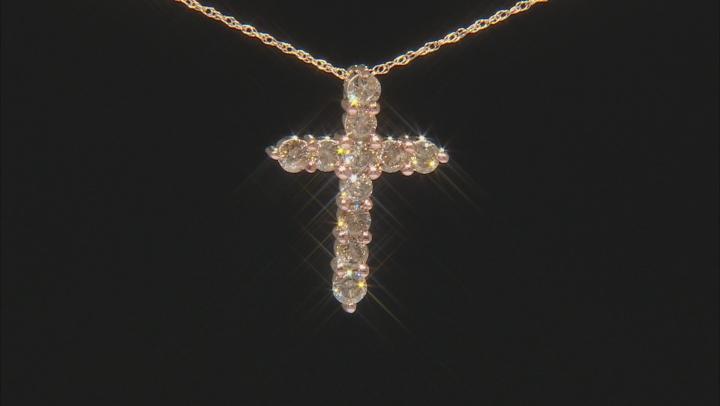 Champagne Diamond 10k Yellow Gold Cross Pendant With Chain 1.00ctw