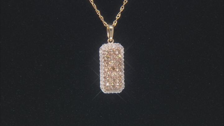 Champagne And White Diamond 10k Yellow Gold Pendant 0.85ctw