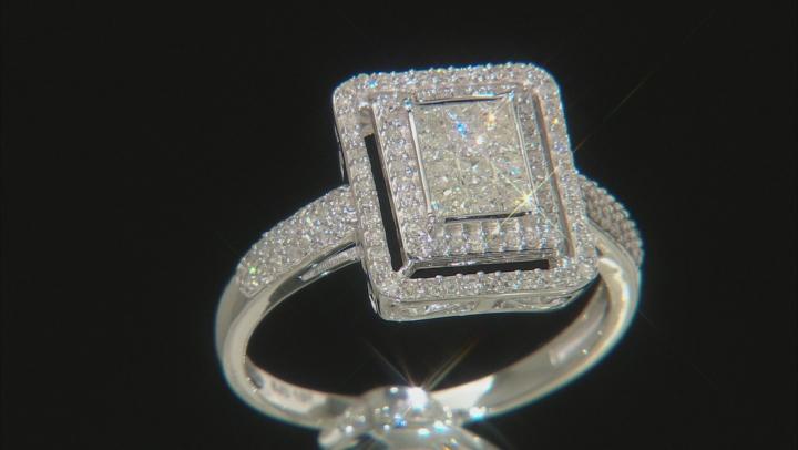 White Diamond 10k White Gold Ring 0.70ctw