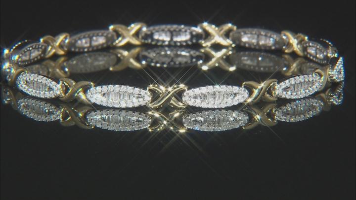 White Diamond 10k Two-Tone Gold Bracelet 1.26ctw