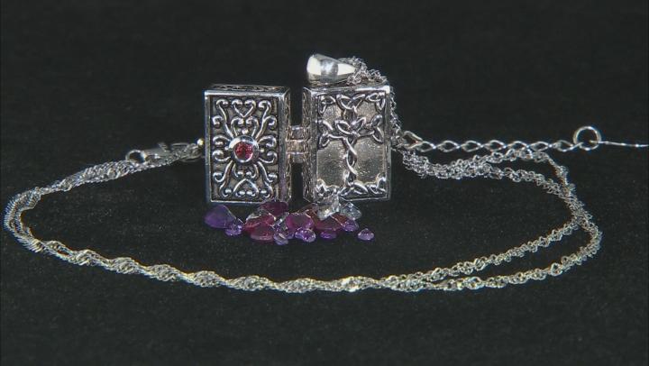 Vermelho Garnet™ Sterling Silver Prayer Box Pendant With Chain 2.43ctw.