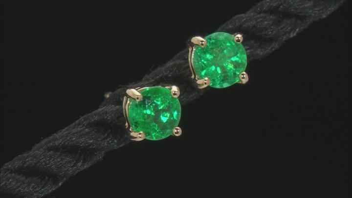 Green Zambian Emerald 14k Yellow Gold Stud Earrings .80ctw