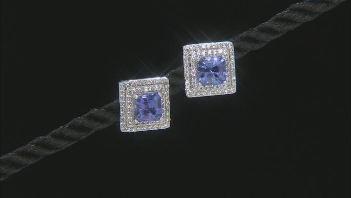 Blue Tanzanite Rhodium Over 14k White Gold Earrings 2.51ctw