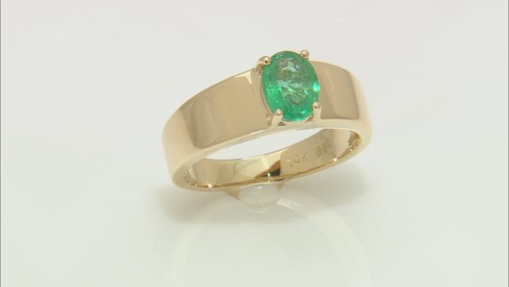 Green Ethiopian Emerald 14k Yellow Gold Ring .98ct