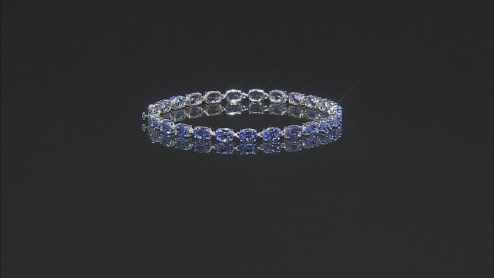 Blue Tanzanite Rhodium Over 14k White Gold Bracelet 9.18ctw
