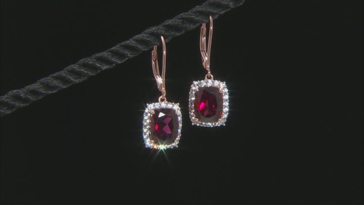 Grape Color Garnet 14k Rose Gold Earrings 6.17ctw