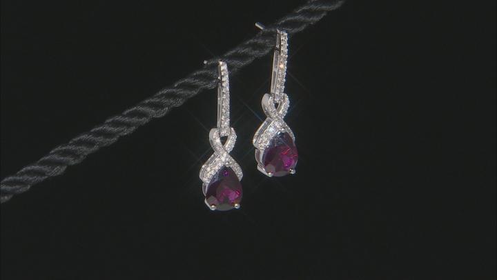 Grape Color Garnet Rhodium Over 14k White Gold Earrings 4.47ctw