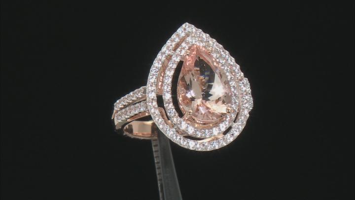 Pink Morganite 14k Rose Gold Ring 2.78ctw
