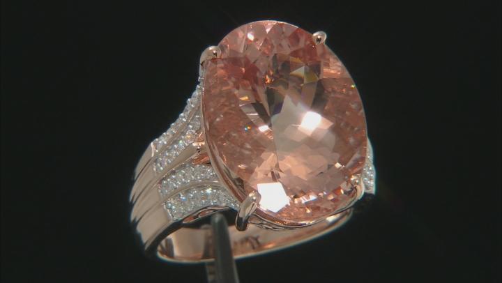 Pink Morganite 10k Rose Gold Ring 15.55ctw