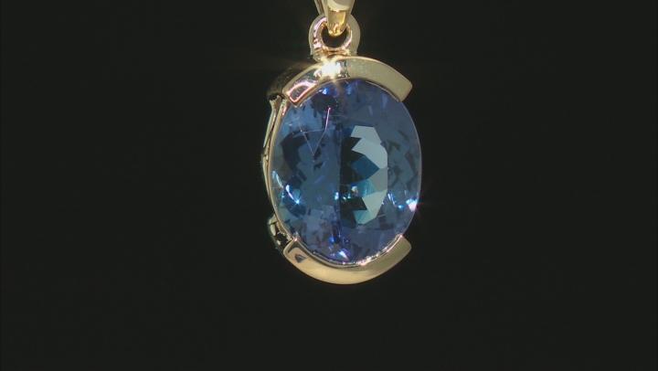 Blue Tanzanite 14k Yellow Gold Pendant With Chain 2.80ct