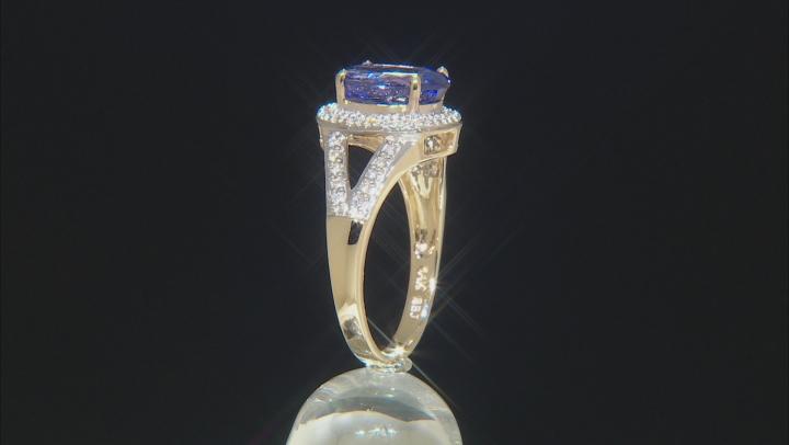 Tanzanite With Round White Diamond 14k Yellow Gold Ring 3.31ctw