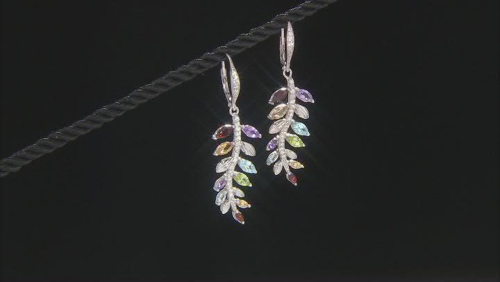 Sky Blue Topaz Rhodium Over Brass Leaf Dangle Earrings 3.59ctw