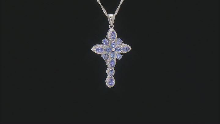 Tanzanite Rhodium Over Sterling Silver Pendant With Chain 2.47ctw