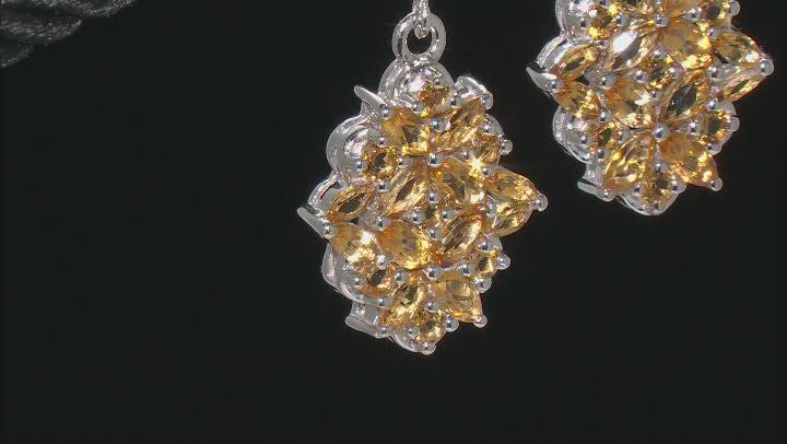 Golden Citrine Rhodium Over Sterling Silver Dangle Earrings 3.60ctw