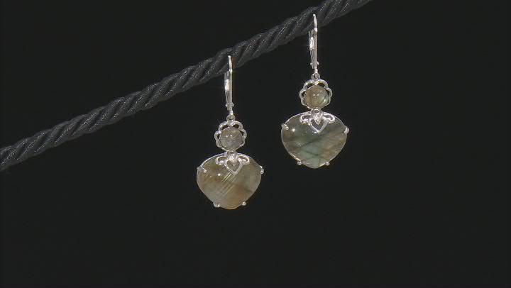 Blue Labradorite Rhodium Over Sterling Silver Dangle Earrings