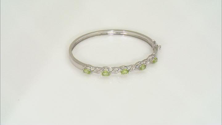 Green Peridot Rhodium Over Sterling Silver Bangle Bracelet 2.05ctw