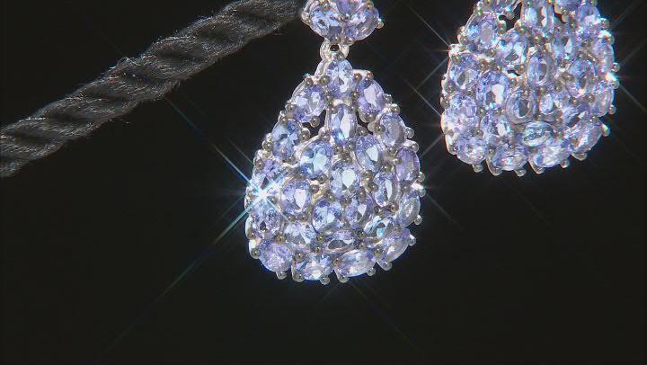 Blue Tanzanite Rhodium Over Sterling Silver Dangle Earrings 8.72ctw