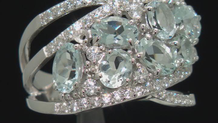 Aquamarine Rhodium Over Sterling Silver Ring 2.35ctw