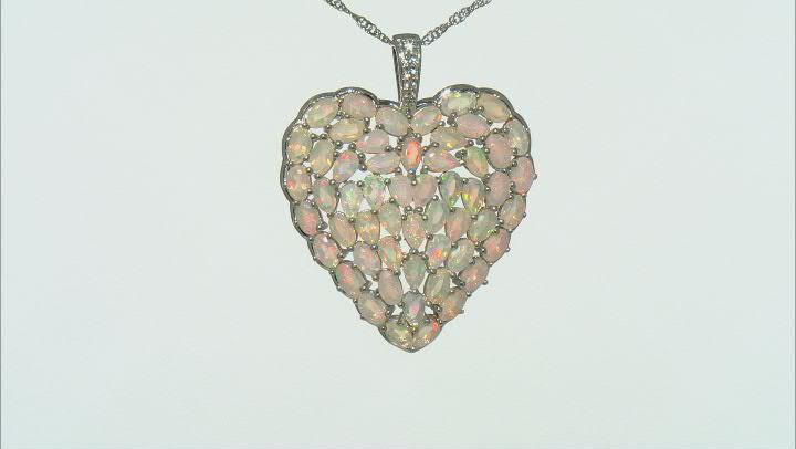 Multi Color Ethiopian Opal Rhodium Over Silver Pendant With Chain 6.58ctw