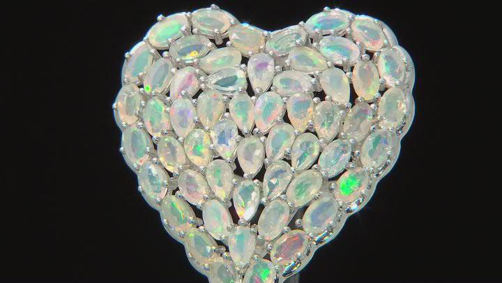 Multicolor Ethiopian Opal Rhodium Over Silver Heart Ring 6.47ctw