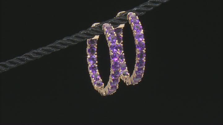 Purple Amethyst 18k Yellow Gold Over Sterling Silver Hoop Earrings 7.23ctw