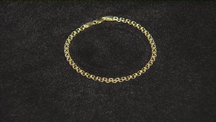 10k Yellow Gold Hollow Bismark Bracelet 7.5 inch 3mm