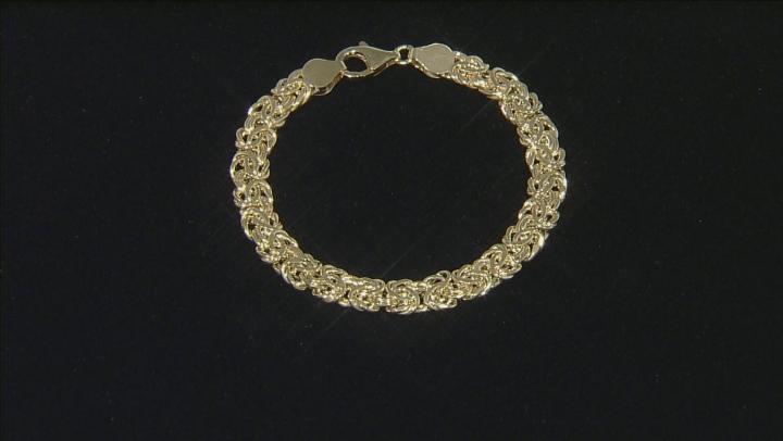 10k Yellow Gold Hollow Flat Byzantine Link Bracelet 6.75 inch 6.5mm