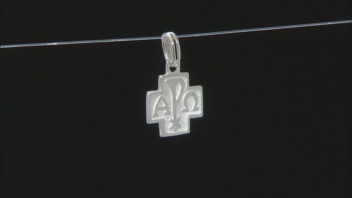 10k White Gold Alpha And Omega Cross Pendant