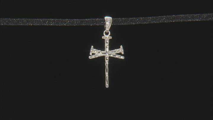 10k White Gold Nail Cross Pendant.
