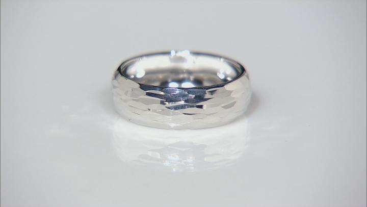 10k White Gold Diamond-Cut Band Ring