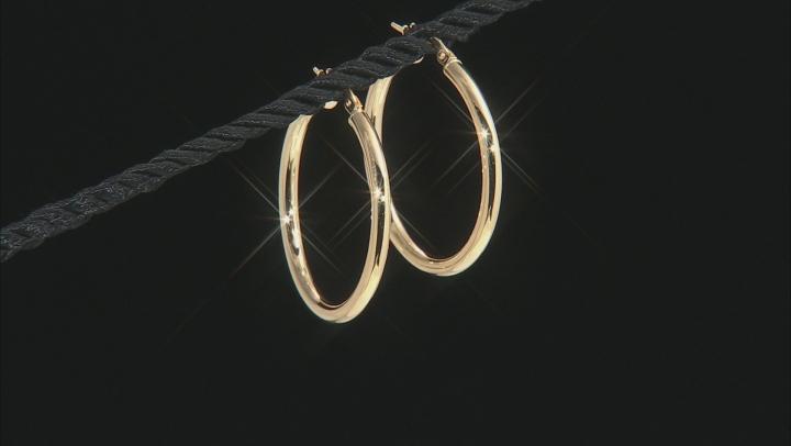 10k Yellow Gold 30mm Tube Hoop Earrings