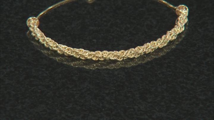 10k Yellow Gold Box Link Sliding Adjustable Bracelet