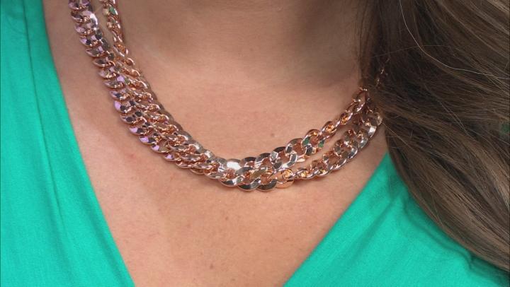 Copper Double Cuban Chain Necklace.