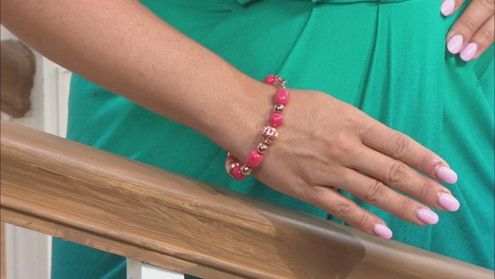Pink Coral Copper Station Bracelet