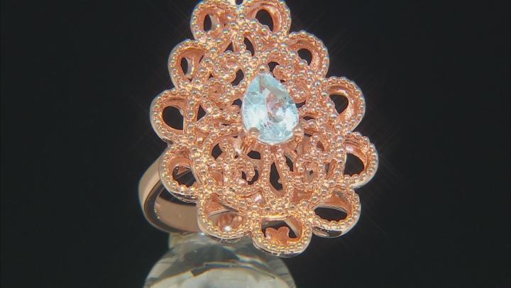 Sky Blue Topaz Copper Filigree Ring 1.10ct