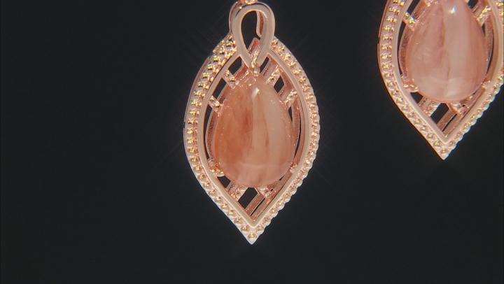 Red Sunstone Copper Dangle Earrings