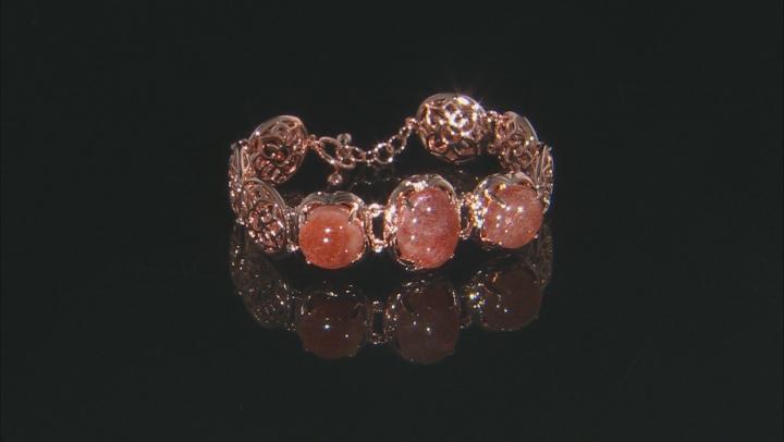 Orange Sunstone Copper Filigree Bracelet