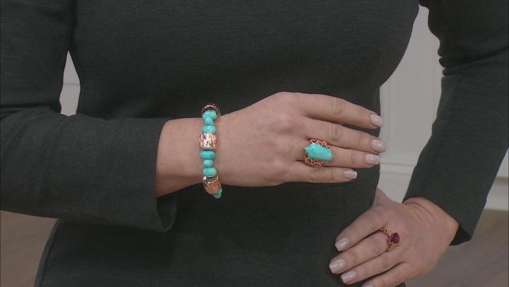 Blue Turquoise Bead Copper Bracelet