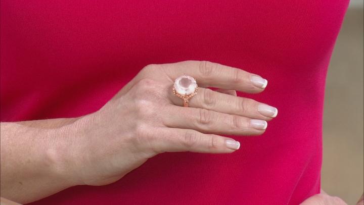 Rose Quartz Solitaire Copper Ring
